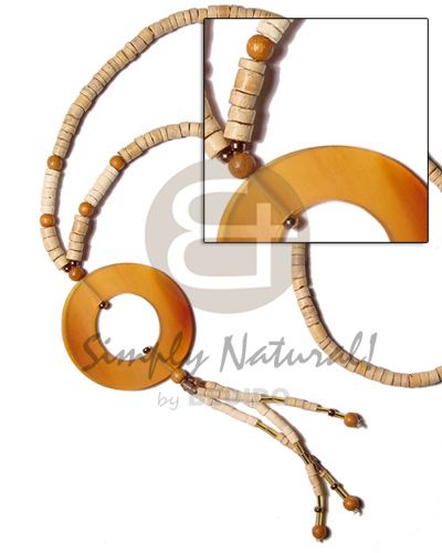 Wholesale 4-5 coco heishe nat wood bone necklace horn necklace