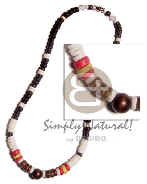 white clam heishe  black/red 4-5mm coco Pokalet. & wood beads combination - Home
