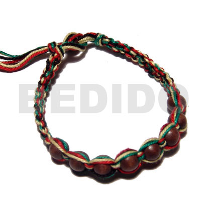 Philippines round wood beads in macrame wood bracelets