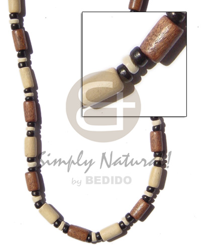 Native tan bleach wood tube wood necklace