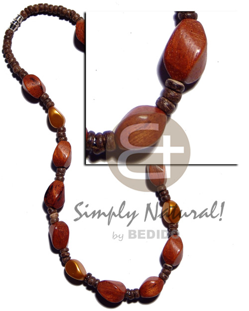 Philippine 4-5mm coco pokalet natural wood necklace