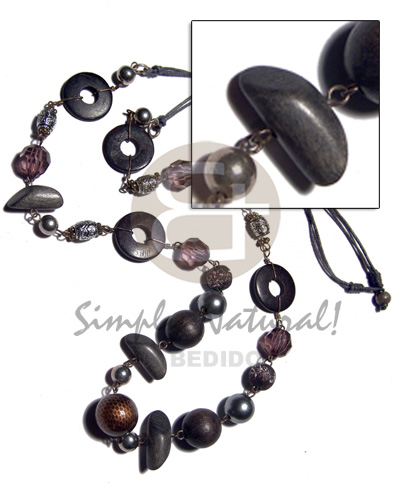 Cebu asstd wood beads in ash wood necklace