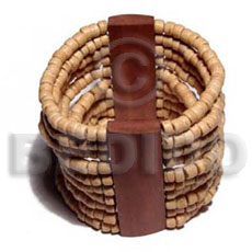 Natural elastic 10 rows 4-5mm coco wooden bangles