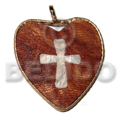 Philippines 60mm textured heart bayong wood wooden pendant