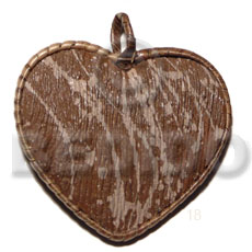 Wholesale 55mm textured marble brown heart wooden pendant