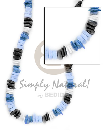 Native coco square cut blue tones coco necklace